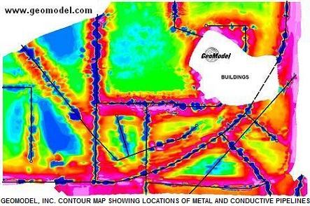 Metal detection contour map produced by metal detector survey data and visualization software by GeoModel, Inc.
