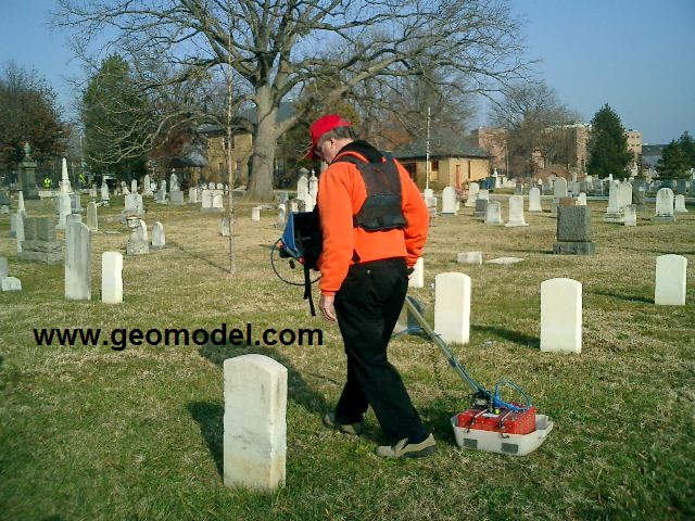 Hand-towed GPR survey for locating graves