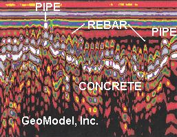 rebar in concrete located by GeoModel, Inc,