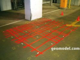 Location of rebar in concrete located by GeoModel, Inc. using ground penetrating radar