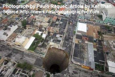 Large sinkhole that opened up in a city in Guatemala